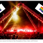 Egitto bandita bandiera Rainbow al concerto dei Red Hot Chili Peppers
