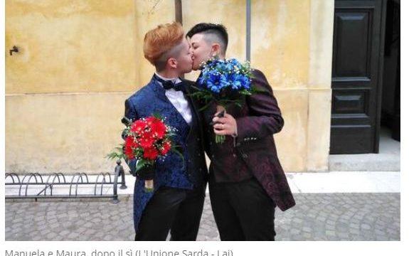 Sardegna Manuela e Maura spose con la mascherina