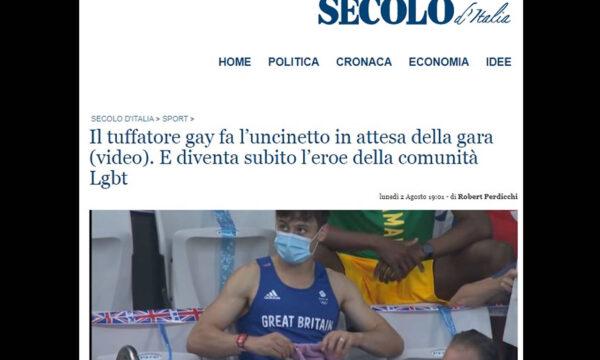Il Secolo d'Italia sfotte Tom Daley: ‹‹casalinga esperta di centrini››